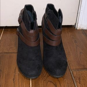 Black with leather wrap booties